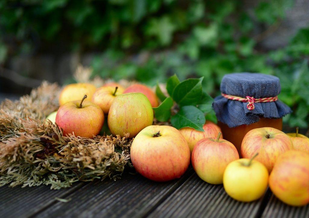 apples, fruit, jam