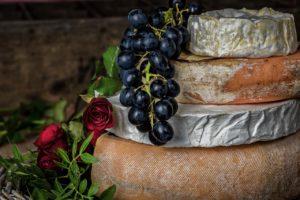 cheeses, grapes, fruits
